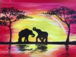 Sunset Safari.  Paint Giraffes, Elephants, or Lions!*