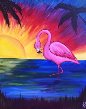 New Painting.  Pink Flamingo.  Complimentary mimosa!
