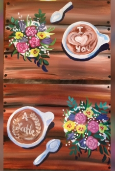 Love you a Latte.  Come as a couple/each paint half, or paint all on one canvas!