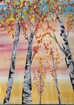 Fall Aspens.  Family Friendly Painting!