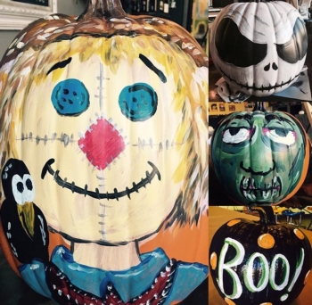 BYOP.  Pumpkin Painting Event. Comp glass of wine for 21+; goodies for the kiddos!