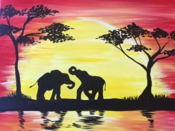 Sunset Safari. You choose elephants, giraffes or lions!*